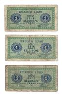 BELGIQUE - 3 BILLETS DE 1 FR - OCCUPATION ALLEMANDE - [ 3] German Occupation Of Belgium