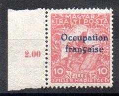 HONGRIE ARAD - YT N° 1 Signé - Neuf ** - MNH - Cote: 35,10 € - Hongrie (1919)
