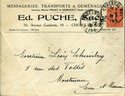 CHOISY LE ROI SEINE 1930 Timbre à Date Sur 50c Semeuse Lignée S Pour Montereau Messagerie Transport Déménagement PUCHE - Postmark Collection (Covers)