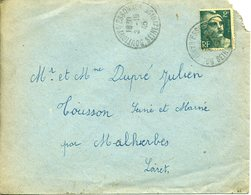 BOUTIGNY SUR ESSONNE SEINE ET OISE 1945 Timbre à Date Sur Gandon 2F Vert Pour Tousson Loiret - Marcophilie (Lettres)