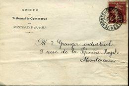 MONTEREAU SEINE ET MARNE 1929 Timbre à Date Sur 15c Semeuse Greffe Du Tribunal De Commerce Montereau - Postmark Collection (Covers)