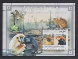 Togo 2011 Mi.-Nr. Block 578 ** Artensterben Durch Entwaldung, Afrik. Wildhund - Togo (1960-...)