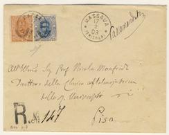 Lettera Raccomandata Da Massaua Per Pisa Con Eritrea Umberto I 20 + 25 C. Il 17/02/1903 (2 Images) - Eritrea