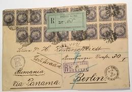 """SANTA CRUZ BOLIVIA 1893""UNIQUE Frkg1887 Issue Registered Cover > Berlin Via La Paz & Panama(lettre Bolivie Condor Lama - Bolivie"