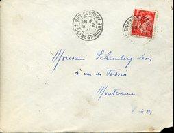 SIVRY COURTRY SEINE ET MARNE 1941 Timbre à Date Sur 1F Iris Pour Montereau - Postmark Collection (Covers)