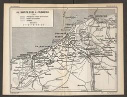 CARTE PLAN 1931 - DE HONFLEUR à CABOURG - HOULGATE VILLERS DEAUVILLE TROUVILLE VILLERVILLE BANC Du RATIER - Topographical Maps