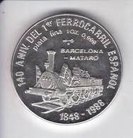 MONEDA DE PLATA DE CUBA DE 10 PESOS AÑO 1988 TREN BARCELONA - MATARO (LA DE LA FOTO) - Cuba