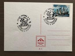 """Cartoncino Retro Cartolina Annullo """"Colombo E Dintorni Mostra E Premiazione"""" Savona 13/10/1992 - Cristoforo Colombo"""