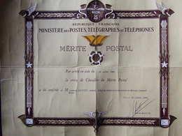 DIPLOME MEDAILLE CROIX DE CHEVALIER MERITE POSTALE 1963 - France