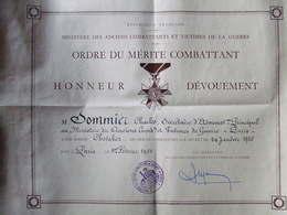 DIPLOME MEDAILLE  CHEVALIER MERITE COMBATTANT 1955 - France