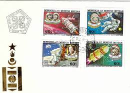 MONGOLIA 1982 UN Space Conference Complete Set On 2 First Day Covers - Mongolia