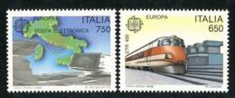 """1988-(MNH=**) Italia S.2v.""""Europa Cept Italia Mezzi Di Trasporto E Di Comunicazione""""cat.Sassone Euro 10 - 6. 1946-.. Repubblica"""