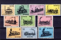 "1964-(MNH=**) San Marino S.10v.""storia Della Locomotiva"" - Nuovi"