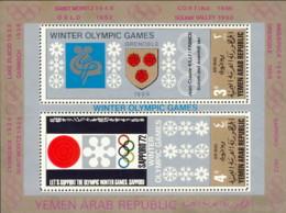 "1968-(MNH=**) Yemen Repub.Araba Foglietto 2 Valori ""Olimpiadi Invernali Grenoble"" - Hiver 1968: Grenoble"