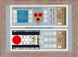 """1968-(MNH=**) Yemen Repub.Araba Foglietto 2 Valori """"Olimpiadi Invernali Grenoble"""" Non Dentellato - Inverno1968: Grenoble"""