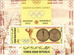 """1968-(MNH=**) Yemen Repub.Araba Foglietto 4b.""""Olimpiadi Invernali Grenoble""""non Dentellato - Inverno1968: Grenoble"""