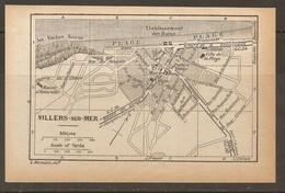 CARTE PLAN 1931 VILLERS Sur MER - LES VACHES NOIRES CASINO Éts BAINS VILLA De La PLAGE MANOIR D'AUBERVILLE - Topographische Kaarten