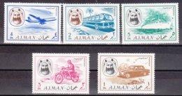"1967-(MNH=**) Ajman 5 Valori ""mezzi Di Trasporto"" - Ajman"