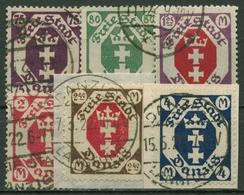Danzig 1922 Freimarken Kleines Staatswappen 93/98 Gestempelt, Massenentwertung - Danzig