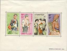 """1965-(MNH=**) Laos Foglietto S.4v.""""etnie,donne In Costume"""" - Laos"""
