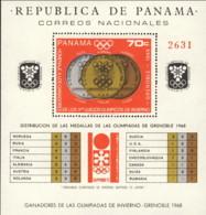 """1968-(MNH=**) Panama Foglietto S.1v.""""Medagliere Olimpiade Invernale Di Grenoble"""" - Hiver 1968: Grenoble"""