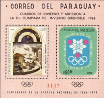 "1968-(MNH=**) Paraguay Foglietto S.2v.""Olimpiadi Invernali Grenoble"" - Inverno1968: Grenoble"