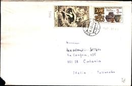 92642) CECOSLOVACCHIA-LETTERA CON 2 VALORI COMMEMORATIVI DA TRENCIN A CATANIA IL 16-3-1983 - Cecoslovacchia