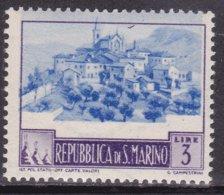 """1949-(MNH=**) San Marino L.3 """"paesaggi""""con Il Centro Molto Spostato. - San Marino"""