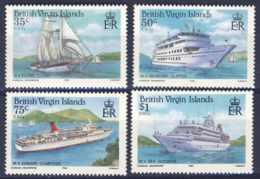 """1986-(MNH=**) British Virgin Islands S.4v.""""Cruise Ships"""" - British Virgin Islands"""