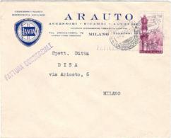 1958-Lourdes L.25 Su Fattura Commerciale Intestazione Pubblicitaria Arauto Lancia Milano - 1946-.. République