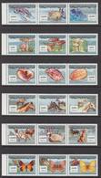2000 Mauritania Mauritanie Flora Fauna Birds Mushrooms Butterflies Complete Set Of 8 Strips Of 3 MNH - Mauritanië (1960-...)
