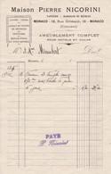 98000 Monaco Pierre  Nicorini Ameublement  Pour   Maubert 1905 - Factures & Documents Commerciaux