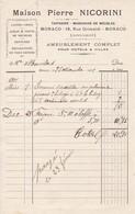 98000 Monaco Pierre  Nicorini Ameublement  Pour   Maubert 1903 - Factures & Documents Commerciaux