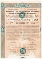Titre Ancien - Royaume De Belgique - Emprunt à Lots De 1 Milliard De Francs- Dommages De Guerre 1922 5% - Titre Original - Actions & Titres