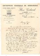 Courrier Entreprise Générale De Serrurerie - Clôtures - Ferrages - Charpentes En Tous Genres René Godard à Combault 1930 - France