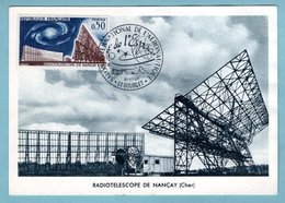 Carte-Maximum 1963 - Radiotélescope De Nançay - YT 1362 - Le Bourget - Maximum Cards