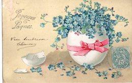 CPA - Embossée Ou Gaufrée -  Joyeuses Pâques -  Oeuf Garni De Fleurs   -- écrite - Easter