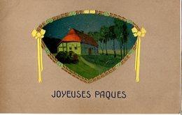CPA - Embossée Ou Gaufrée -  Joyeuses Pâques -  Maison De Campagne   -- écrite - Easter