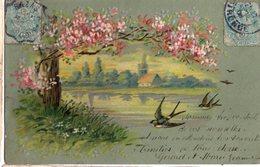 CPA -  Embossée Ou Gaufrée -  Paysage , Lac Et Hirondelles     -- écrite - Postcards