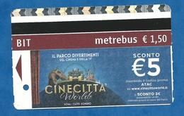 Titre De Transport Métrobus Rome Publicité Parc Cinécitta - 2018 - Metro