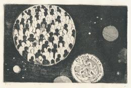 Nieuwjaarskaart P.F. 1964 Fam. C. Bunnik Haakman - Jan R. Mensinga (1924-1988) Ets - Prenten & Gravure