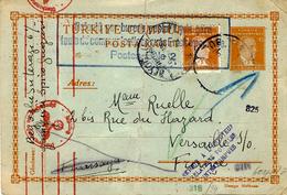 """WWII- 1941- C P E P Turc De Beyoglu Pour Versailles """" Refoulé Par Bureau Postal Lyon-Gare ... Sur Le Poste Bâle 2 ' - Postmark Collection (Covers)"""