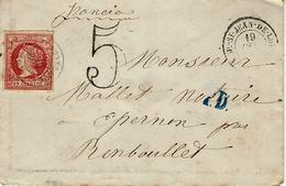 1861 ? -enveloppe Affr. 12 Cuartos ( 4 Marges )  + Taxe 5 Double Trait  + P.D. Entrée St Jean De Luz - 1850-68 Kingdom: Isabella II