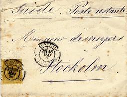1880- Enveloppe De BAYEUX ( Calvados ) Affr. N° 92 SEUL Pour La Suède - Storia Postale