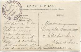 CARTE PHOTO MILITAIRE ECRITE EPINAY + CACHET VIOLET GROUPE 2 POSTE 3 SGVG BRUNOY SEINE ET OISE 1915 - Marcophilie (Lettres)