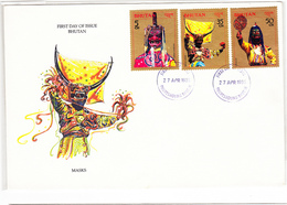 BHUTAN FDC 1985 MASKS 3 Stamps First Day Of Issue BHOUTAN - Bhoutan
