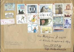 BIG COVER - Croatia 2007 Omis  V - (post Label ) Letter -via Macedonia LOT Stamps - Kroatien