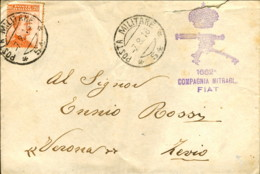 1918-Bollo Viola 1662' Compagnia Mitraglieri FIAT Su Busta Viaggiata Bollo P.M. 54 - Gorizia