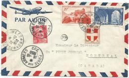 N°842+841A+836 LETTRE AVION POSTE AUX ARMEES 406 12.10.1950 + RAJOUT GANDON 15FR POSTE AUX 222 16.10.1950 CANADA RARE - Marcophilie (Lettres)