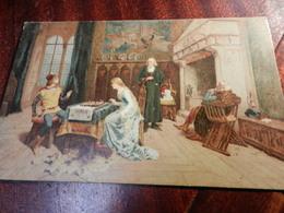 20038) INDUNO PARTITA A SCACCHI VIAGGIATA 1911 COLORI MOLTO NITIDI MOLTO BELLA - Paintings